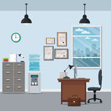 Kontur för stad för fönster för lampa för certifikat för utmatare för vatten för skrivbord för kontorsworkspacestol kabinett vektor illustrationer