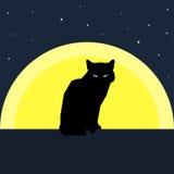 Kontur för svart katt mot månen Natur- och djurtema stock illustrationer
