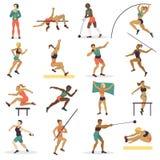 Kontur för tecken för friidrott för kvinna för höjdhoppidrottsman nensport som gör den olika spårvektorillustrationen stock illustrationer