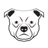 Kontur för teckning för hundframsida svartvit vektor illustrationer