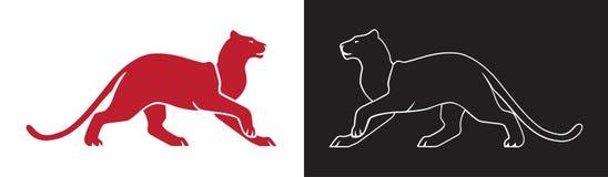 Kontur för två panter, vektoröversikt av vildkatt för logo eller maskot Royaltyfri Bild