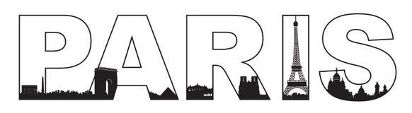 Kontur för typografiParis horisont Royaltyfri Foto