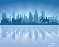 Kontur för vektor för Baku Azerbaijan stadshorisont vektor illustrationer