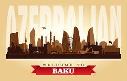 Kontur för vektor för Baku Azerbaijan stadshorisont stock illustrationer