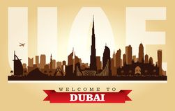 Kontur för vektor för Dubai UAE stadshorisont royaltyfri illustrationer