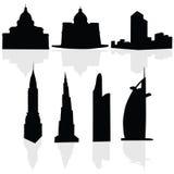 Kontur för vektor för byggnadskonstsvart Royaltyfri Fotografi