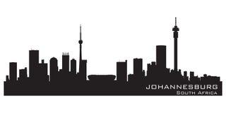 Kontur för vektor för Johannesburg Sydafrika horisont detaljerad royaltyfri illustrationer