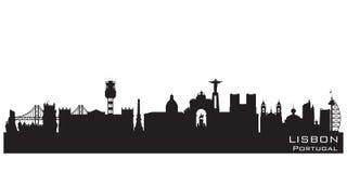 Kontur för vektor för Lissabon Portugal stadshorisont royaltyfri illustrationer