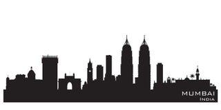 Kontur för vektor för Mumbai Indien stadshorisont vektor illustrationer