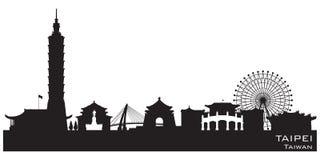 Kontur för vektor för Taipei Taiwan stadshorisont stock illustrationer
