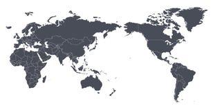 Kontur för kontur för vektorvärldskartaöversikt med internationellt b royaltyfri illustrationer