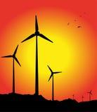 Kontur för vindturbiner Royaltyfri Bild