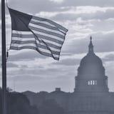 Kontur för Förenta staternaKapitoliumbyggnad på soluppgång, svartvit Washington DC - Arkivbild