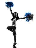 Kontur för hejaklacksledare för ung kvinna cheerleading Fotografering för Bildbyråer