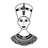 Kontur framifrån den forntida egyptiska drottningen, faraoNe stock illustrationer