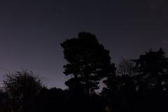 Kontur i stjärnklar natt Arkivfoto