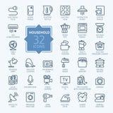 Kontur ikona ustawiająca - gospodarstw domowych urządzenia Zdjęcie Stock