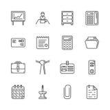 Kontur ikona ustawiająca - biurowy workspace Obraz Royalty Free