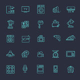Kontur ikony kolekcja - gospodarstw domowych urządzenia Zdjęcia Stock