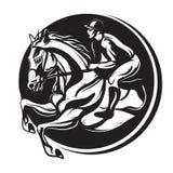Kontur Indiańskiego atramentu końska jazda, jeździecki koń z dżokejem Obraz Stock