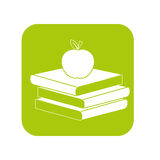 Kontur książki z czerwonym jabłkiem na wierzchołku Zdjęcie Stock