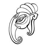 Kontur på en vit bakgrund Ganesha hand dragen illustration Fotografering för Bildbyråer