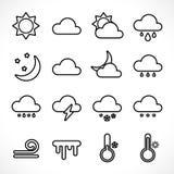 Kontur pogodowe ikony ustawiać royalty ilustracja