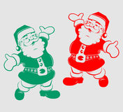 Kontur roliga Santa Claus stock illustrationer