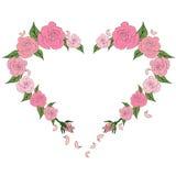 Kontur serce malował z delikatnymi różami Obraz Royalty Free