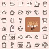 Kontur sieci ikona ustawia - pije kawę, herbata Zdjęcia Stock