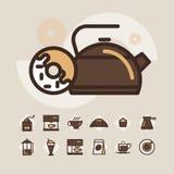 Kontur sieci ikona ustawia - pije kawę, herbata Obraz Royalty Free
