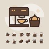 Kontur sieci ikona ustawia - pije kawę, herbata Zdjęcie Stock