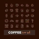 Kontur sieci ikona ustawia - pije kawę, herbata Fotografia Royalty Free