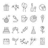 Kontur sieci ikona ustawia - przyjęcia, urodziny, wakacje Obraz Royalty Free
