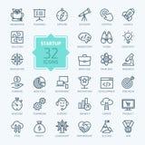 Kontur sieci ikona ustawiająca - uruchomienie projekt Zdjęcia Royalty Free