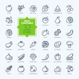 Kontur sieci ikona ustawiająca - owoc i warzywo Obrazy Stock