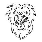 Kontur som grinar det emotionella och kaxiga lejonet Arkivbilder
