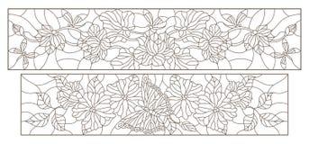 Kontur stellte mit Illustrationen in der Buntglasart mit Blumen, Schmetterlingen und Libellen, horizontale Bilder, dunkle Konture stock abbildung