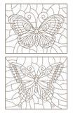 Kontur stellte mit Illustrationen des Buntglases mit Schmetterlingen, dunkler Entwurf auf einem weißen Hintergrund ein Lizenzfreies Stockbild