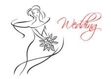 Kontur sylwetka panna młoda z kwiatami Zdjęcia Royalty Free