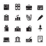 Konturaffär, kontor och finanssymboler stock illustrationer