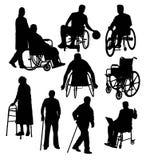 Konturaktivitetsfolk med handikapp vektor illustrationer