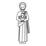 Konturbilden St Joseph med behandla som ett barn jesus vektor illustrationer