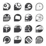Konturdator, mobiltelefon och internetsymboler Arkivfoto