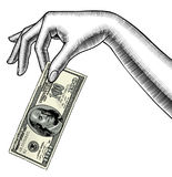 Konturen av handen för kvinna` s gömma i handflatan ner med en 100 dollar sedel I royaltyfri illustrationer