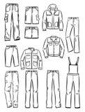 Konturen der Kleidungs der Männer Stockbilder