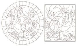 Konturen st?llde in med illustrationer av m?lat glass Windows med stilla lifes, tillbringaren och frukt, m?rka konturer p? en vit vektor illustrationer