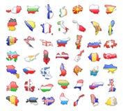 Konturen von europäischen Ländern mit Flaggen Auch im corel abgehobenen Betrag Lizenzfreie Abbildung