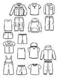 Konturen von Kleidung für kleine Jungen Lizenzfreie Stockbilder