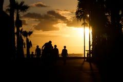 Konturen von Palmen und Leuten bei Sonnenuntergang Sepia Stockbild